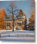 Country Home Oil Metal Print