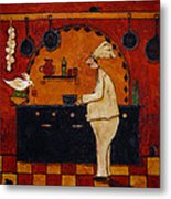 Country Kitchen Chef Cockatoo Bird Animals Mouse Stove Pots Italian Whimsical Folk Debi Hubbs Art Metal Print