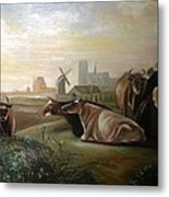 Country Landscapes With Cows Metal Print