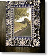 Country Lane Reflected In Mirror Metal Print by Amanda Elwell