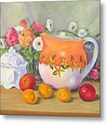 Country Pitcher With Sugar Bowl Metal Print