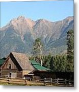 Country Ranch In Mountains Metal Print