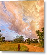 Country Road Into The Storm Front Metal Print