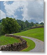Country Road With Limestone Fence Metal Print