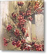 Country Wreath With Red Berries Metal Print