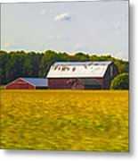 Countryside Landscape With Red Barns Metal Print