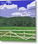 Countryside Scene Digital Painting Metal Print