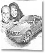 Couple And Ford Mustang Pencil Portrait Metal Print