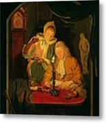 Couple Counting Money By Candlelight, 1779 Panel Metal Print