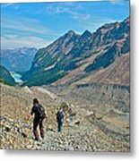 Couple Hiking On Plain Of Six Glaciers Trail  In Banff Np-albert Metal Print