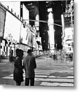 Couple In Times Square Metal Print