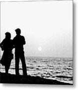 Couple Looking Out To Sea Metal Print