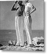 Couple On The Maine Shore Metal Print