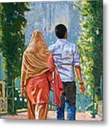 Couple Under The Leafy Arch Metal Print