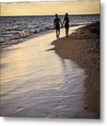Couple Walking On A Beach Metal Print