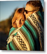 Couple Wraps Themselves In A Blue Metal Print