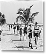 Couples Strolling Along The Pathway On The Beach. Metal Print