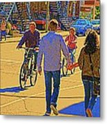 Couples Summer In The City Walking Biking Strolling With Baby Carriage Art Of Montreal Street Scene Metal Print