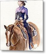 Horse Painting Cowgirl Courage Metal Print