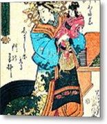 Courtesan Takimoto 1818 Metal Print