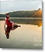 Courtney On The Water Metal Print