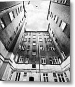 Courtyard In Black And White Metal Print