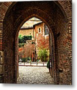 Courtyard Of Cathedral Of Ste-cecile In Albi France Metal Print