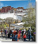 Courtyard Of Potala Palace In Lhasa-tibet Metal Print