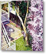 Courtyard With Cherry Blossoms Metal Print