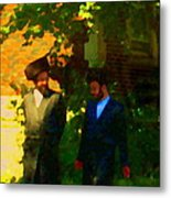 Covenant Conversation Two Men Of God Hasidic Community Montreal City Scene Rabbinical Art Carole Spa Metal Print