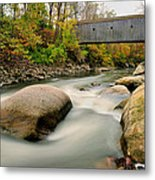 Covered Bridge At Bull Run - Kent Connecticut Metal Print by Thomas Schoeller