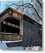 Covered Bridge At Christmas Metal Print