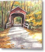 Covered Bridge Autumn Shadows Watercolor Painting Metal Print