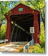 Covered Bridge In Fall Metal Print