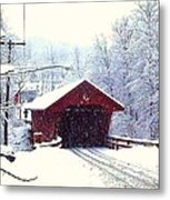 Covered Bridge In Winter Metal Print
