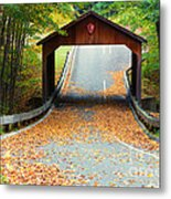 Covered Bridge On Pierce Stocking Scenic Drive Within Sleeping B Metal Print