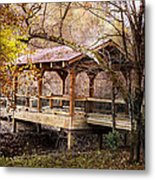 Covered Bridge On The River Walk Metal Print