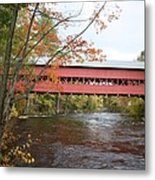 Covered Bridge Over Swift River Metal Print