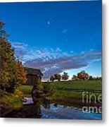 Covered Bridge Under A Vermont Sky Metal Print