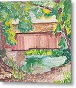 Covered Bridge Watercolor Metal Print by Fred Jinkins