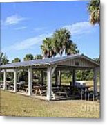 Covered Picnic Tables Metal Print