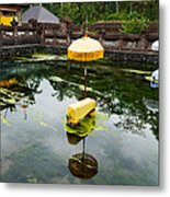 Covered Stones With Umbrella In Ritual Metal Print