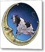 Cow And Moon Metal Print
