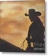Cow Girl At Sunset Metal Print