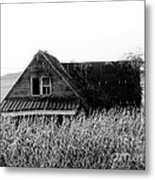 Cow House Black And White Metal Print