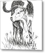 Cow In Pen And Ink Metal Print