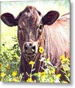 Cow In Wildflowers Metal Print by Ella Kaye Dickey