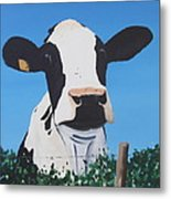Cow On A Ditch Metal Print