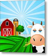 Cow On Green Pasture With Red Barn With Grain Silo  Metal Print