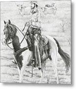 Cowboy And Horse No Fences Metal Print